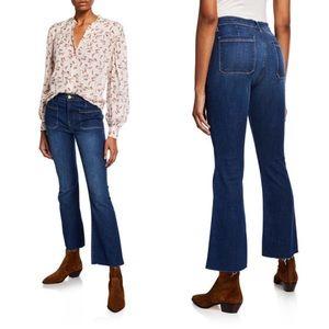 FRAME SZ 29 - Le Bardot Crop Flare Raw-Edge Jeans